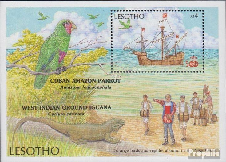 Afrika | Süd- und Zentralafrika | Lesotho | Block46 (kompl.Ausg.) | postfrisch | 1987 Entdeckung Amerikas: Fauna | Precio: 17,00 EUR.
