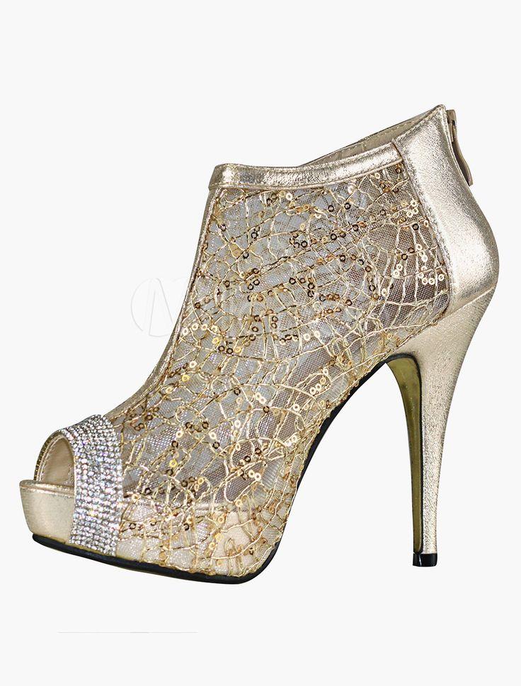 Scarpe d'oro da matrimonio con tacchi alti, plateau