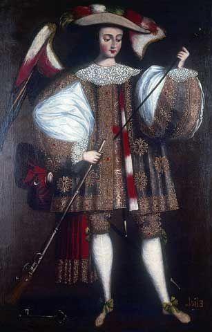 El arte en el Perú - MALI Escuela cusqueña. Arcángel Eliel con arcabuz, 1690-1720 Óleo sobre lienzo, 168,5 x 108 cm Donación Pedro de Osma