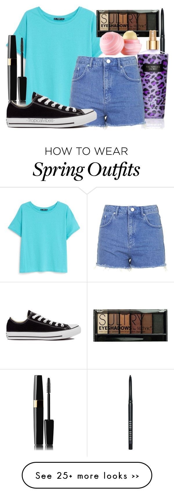 """Cute Spring/Summer Outfit"" by xx-tropicalvibes-xx on Polyvore featuring Bobbi Brown Cosmetics, MANGO, Boohoo, Topshop, Converse and Eos"
