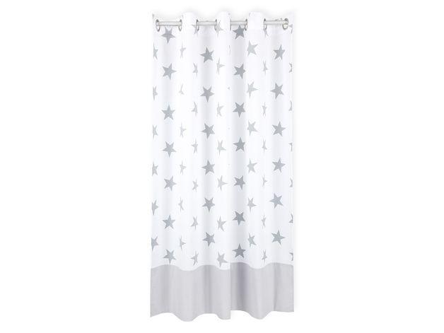 gardinen vorhänge gardinen graue sterne auf weiß und uni grau mit ...