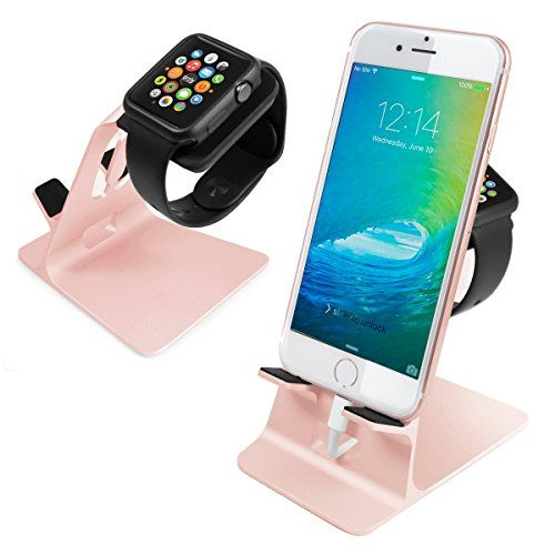 nice Orzly® - DuoStand Charge Station for Apple Watch & iPhone - Aluminium Desk Stand Cradle in ROSE GOLD with Built-In Insert Slots for both Grommet Wireless Charger and Lightning Cable for use as a fully functional Charging Dock for both your Apple Watch & iPhone Simultaneously - Fits iPhone Models: 5 / 5S / 5C / 6 / 6 PLUS and both 42mm & 38mm sizes of 2015 Watch Models (Original BASIC Model / SPORT Version / and EDITION Models)