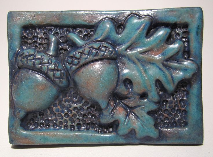 art tiles ceramic | Acorns and Oak Leaves Art Tile - deep turquoise Ceramic Tile