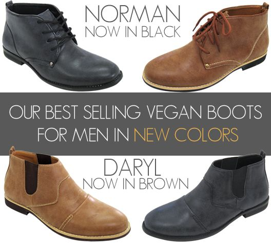 Our Norman and Daryl vegan boots for men were an instant hit this Summer, so we brought them back in NEW COLORS! These desert boots dress up fall casual wear creating an effortless style. #vegan #mens #boots #desert #boots #ankle #boots #faux #leather #nonleather #mensboots #veganboots #fauxleatherboots