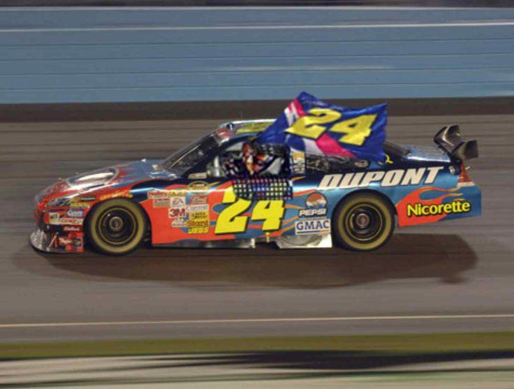 jeff gordon wedding | Jeff Gordon Celebrates Equaling Earnhardt's Win Record With Giant Flag ...