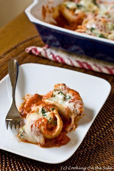 conchas rellenas de espinacas y salchicha