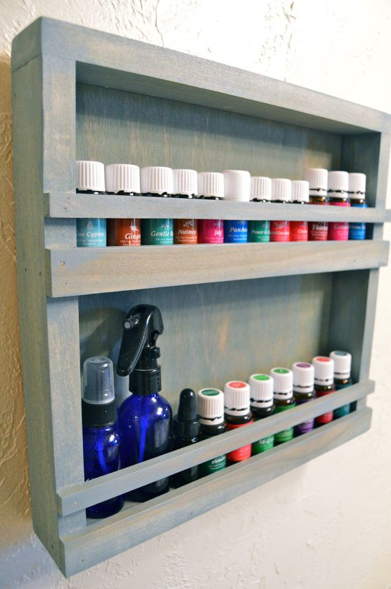 Essential Oil Display Rack Made Of Wood Wall Hanging 2