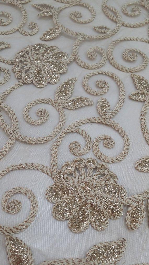 Encaje bordado oro tela cordón francés bordado de encaje