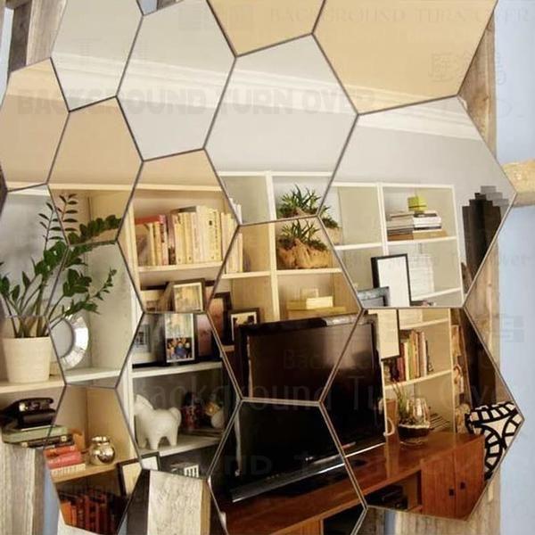 Regular Hexagon Honeycomb Decorative 3D Acrylic Mirror