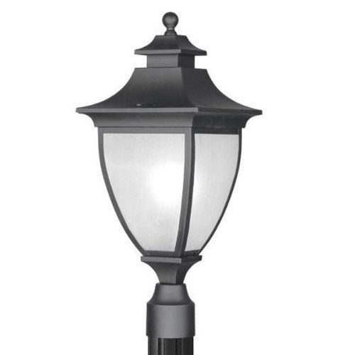 """Livex 7725-04 Hillsdale Outdoor Post Head Black by Livex. $147.11. Livex Lighting 7725-04 Black Outdoor Post Head Hillsdale 9""""W x 21.5""""H, 1 100w Med, Frosted Seeded Glass Glass / Shade"""