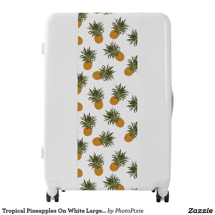 Tropical Pineapples On White Large Luggage