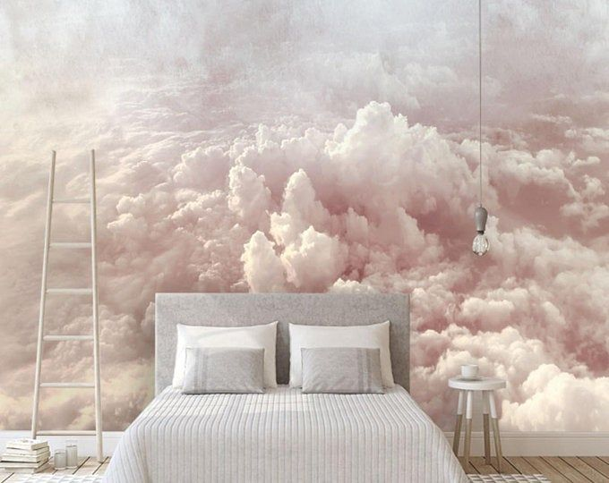 Cloudy Sky Watercolor Removable Wallpaper Peel And Stick Etsy Cloud Wallpaper Wall Murals Wall Wallpaper