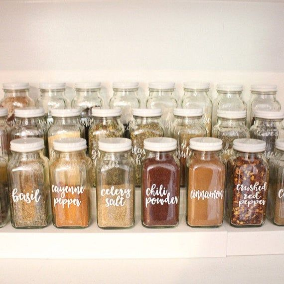 Custom Farmhouse Calligraphy Seasoning Spice Jar Container Labels Spice Jars Spice Jar Labels Kitchen Spices