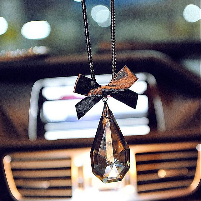 Car Charm Ornaments-Bling Water Drop Crystal Charms and Bow for Rearview Mirror - Carsoda - 1