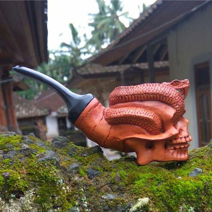 Hand Carved Wooden Tobacco Pipes Snake Skull Carving Ebonit Stem #10