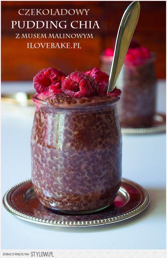 Czekoladowy pudding chia z musem malinowym na Stylowi.pl