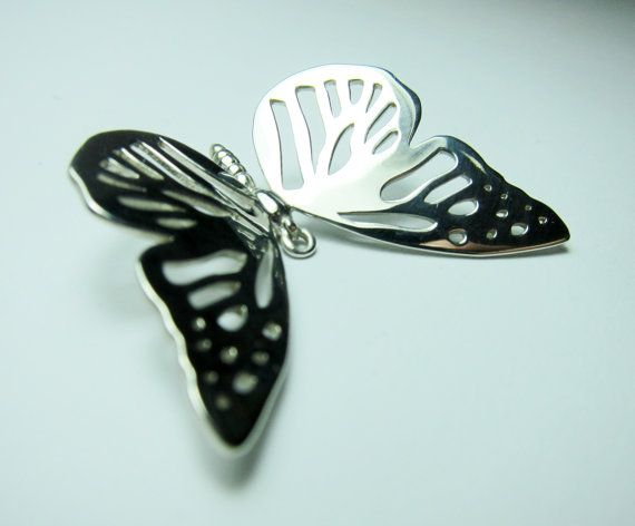 Silver Butterfly Pendant Polished Sterling by FacetiousDesigns