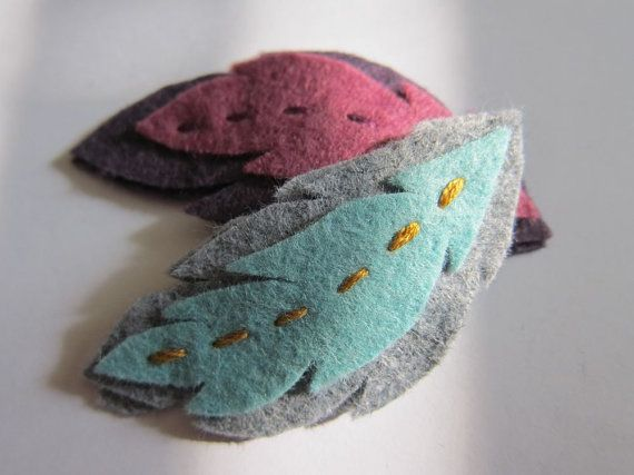 Set of 2 Wool Felt Feather Barrette  Hair Clip  by nattybratty, $8.00