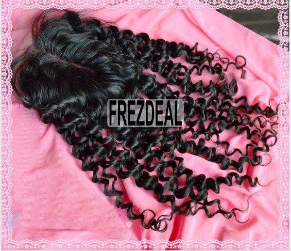 1 Pc 10inch Free Shipping Top Lace Closure Virgin Hair,Curly Lace Closure With Baby Swiss 4 Inch * 3.5 Inch