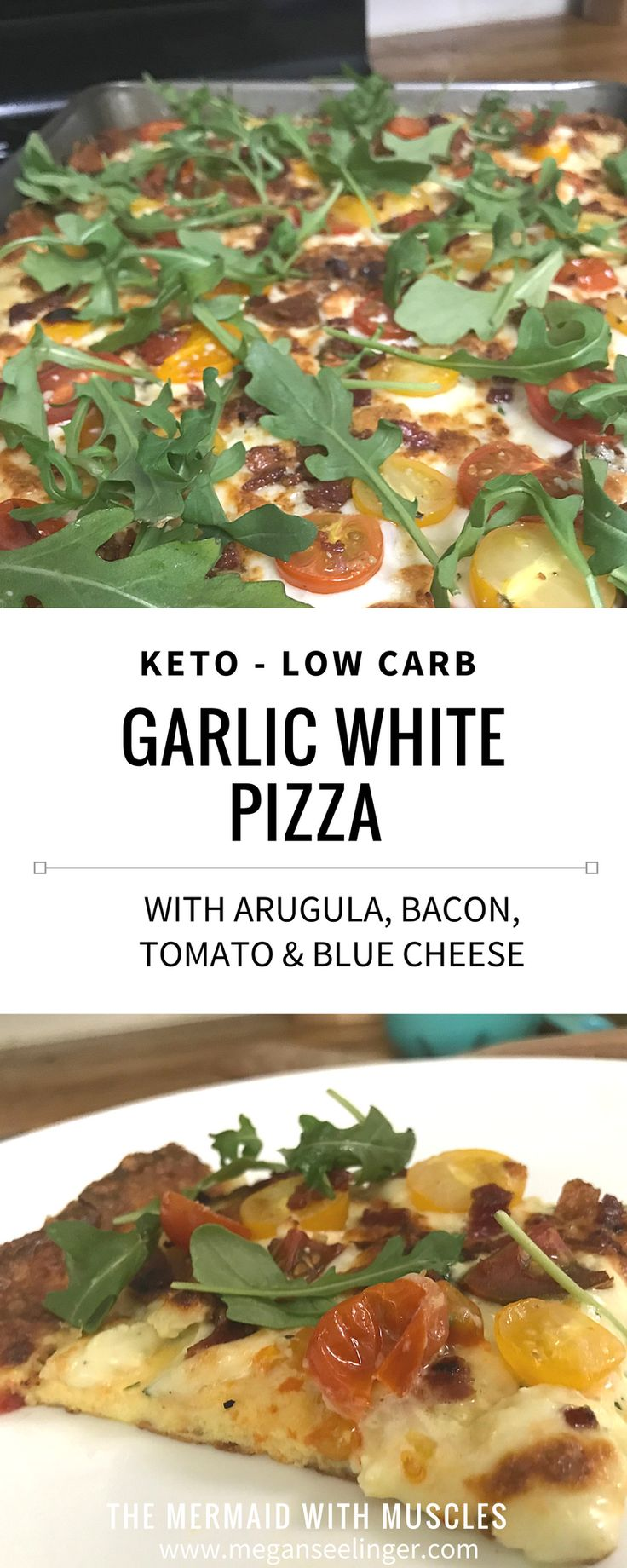 If you are on a low carb diet plan you don't have to give up your favorites! This pizza recipe has a keto pizza crusts primarily made of cheese, a garlic white pizza sauce perfect for any keto meal plan and some of my favorite pizza toppings, arugula, tomatoes, bacon and blue cheese. This is a pretty easy recipe to follow and so worth it!