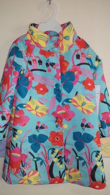 girls spring coat in printed jacquard fabric..colorful!
