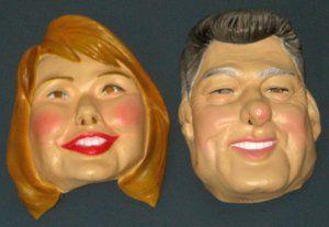 Bill and Hillary Clinton Vinyl Mask Set by Cesar Halloween Masquerade President 1992 $29.75