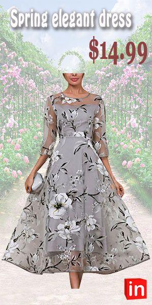 f1c053d3670a Women s Daily Elegant A Line Skater Dress - Floral Gray L XL XXL nel ...
