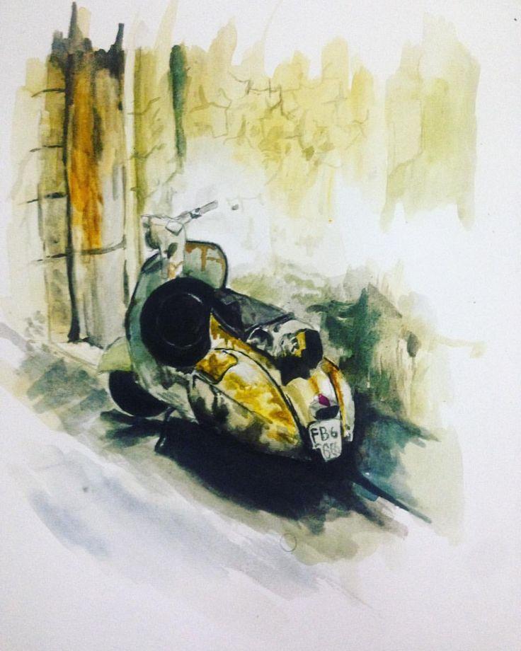 "12 Suka, 2 Komentar - Feby Bayu Samudra (@fbybayu) di Instagram: """"vespa"" on canson 200 gsm . . . #instaart #instaartist #instaarts #art #artistic #artist #artwork…"""