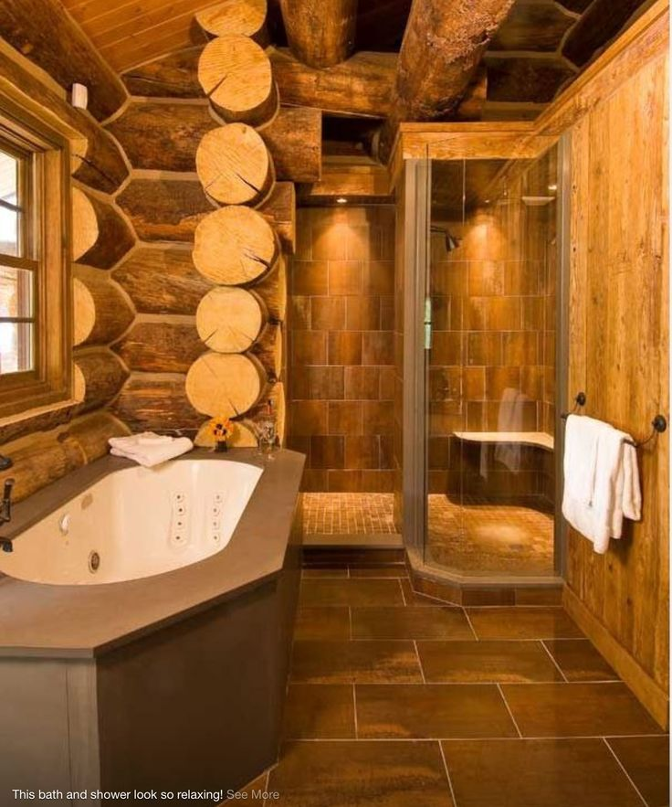 Rustic Bathroom With White Shiplap: Log Home Bathrooms, Log