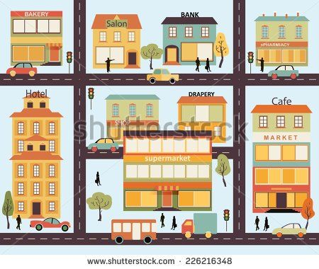 Set of buildings in the style of small business flat design. infographics. Architecture of a small town market, salon, pharmacy, bakery, bank, supermarket, drapery shop. Vector.