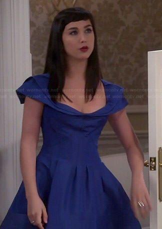 Mandy's blue bridesmaid dress on Last Man Standing.  Outfit Details: http://wornontv.net/44963/ #LastManStanding
