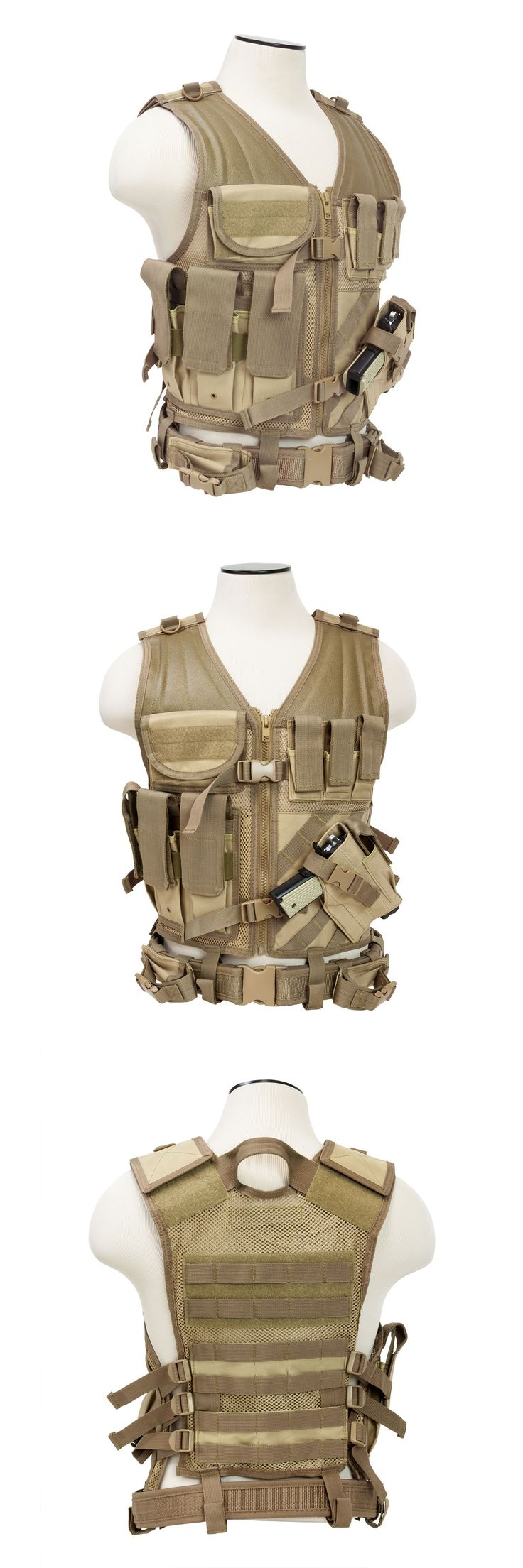Chest Rigs and Tactical Vests 177891: Ncstar Ctv2916t Pvc Military Tactical Heavy Duty Vest W Pistol Holster Tan -> BUY IT NOW ONLY: $35.95 on eBay!