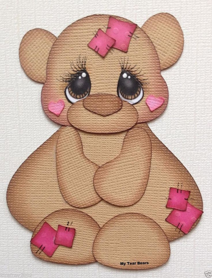 PREMADE BEAR WITH PATCHES PAPER PIECING BY MY TEAR BEARS KIRA