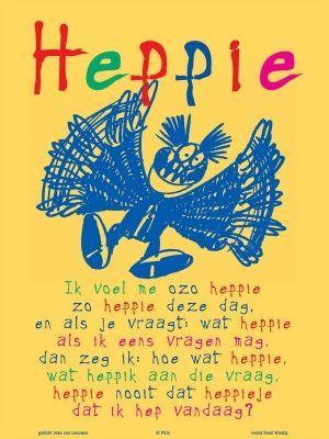 Aan de muur - Poëzieposters - poëzieposter heppie Joke van Leeuwen