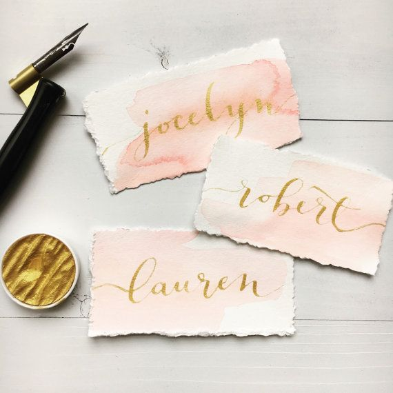 Calligraphy Place Cards Watercolor Name Cards by LoveSupplyCo