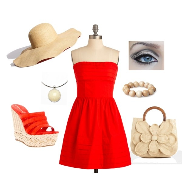 Red Picnic, created by cnasnflwrgrl on PolyvoreParty Dresses, Red Picnics, A Lin Parties, Fashionn 3, Strapless Parties Dresses, Beautiful Fashion 3, Beach, Summer Fun, Style Fashion