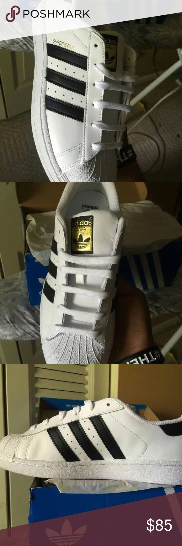 Adidas Superstars Black and white adidas superstars size:6 Never Worn! Brand New! Price possibly negotiated Adidas Shoes Athletic Shoes