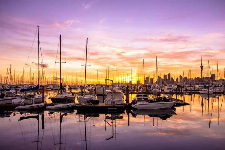 Sunset at Westhaven Marina, Auckland