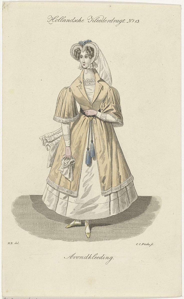 Carl Cristiaan Fuchs | Vrouw in avondkleding, Carl Cristiaan Fuchs, 1802 - 1855 | Een dame draagt een jurk met gele mantel. Op haar hoofd een bijpassend hoofdkapje en in haar hand een zakdoek.