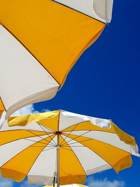 Yellow and White umbrella's against a beautiful Blue sky