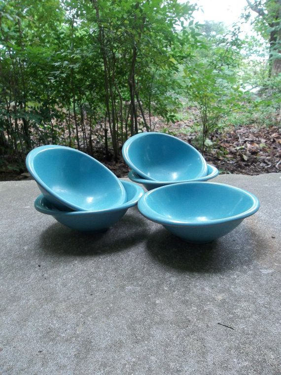 Vintage Melamine Bowls Melmac Turquoise Cereal Bowls Mid Century Modern 1950 Kitchen Farmhouse Picnic Dishes Set of 5