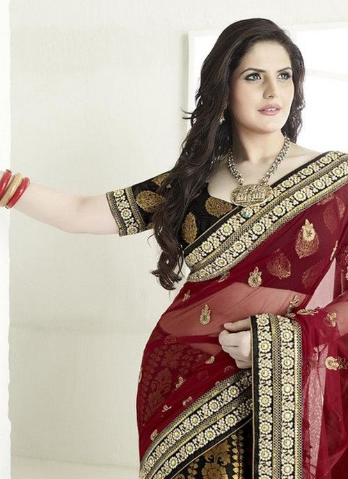 Black Georgette and Net Saree Zarine Khan Collection