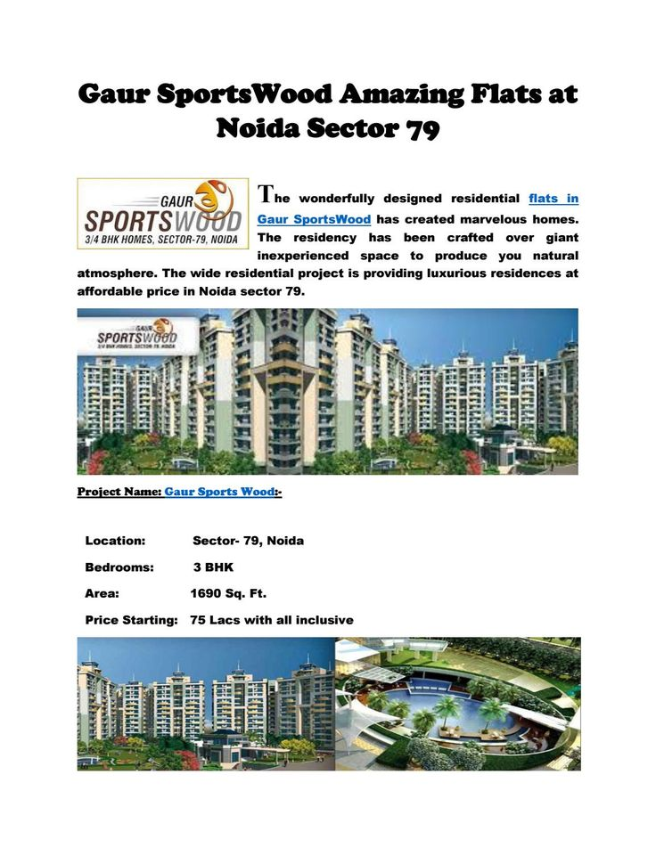 Amazing Flats in Gaur SportsWood at Noida Sector 79  The brilliantly outlined…