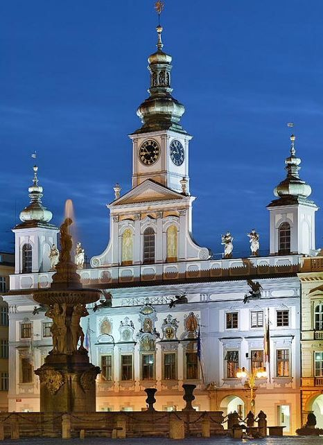 City hall in České Budějovice, Czechia #night #square #city #czechia