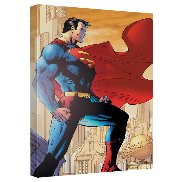 """Superman City Watch Canvas Wall Art from Warner Bros.: """"When he's not battling supervillains or chasing down… #Movies #Films #DVD Video"""