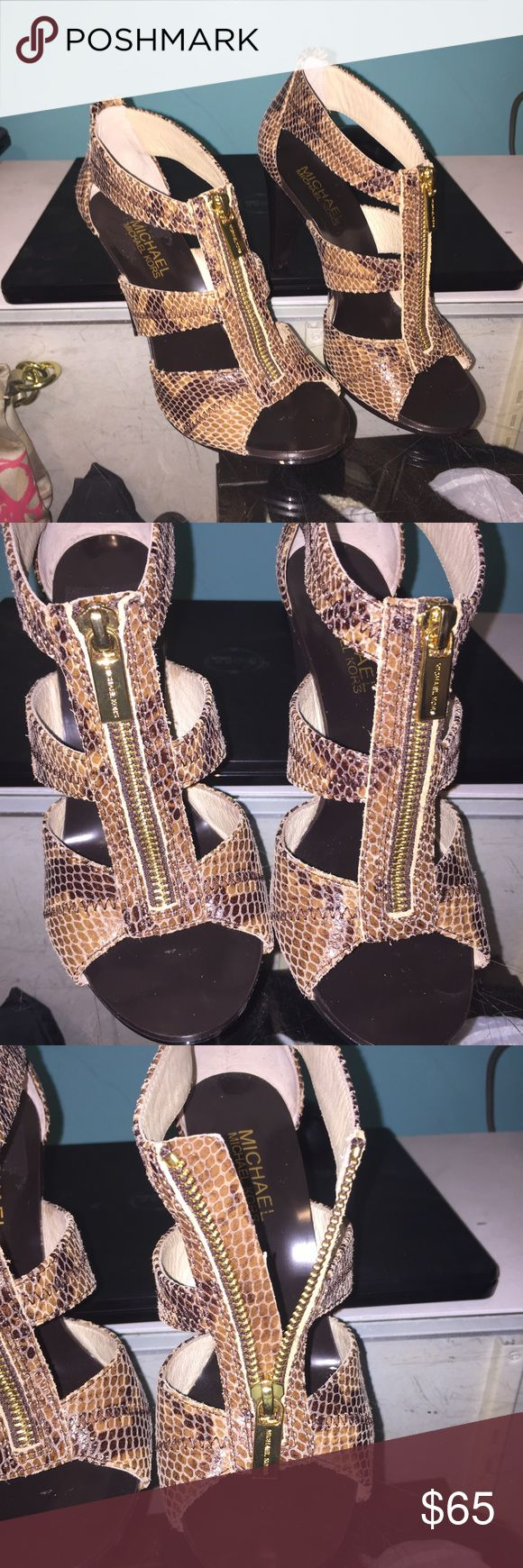 Michael Kors heels These look amazing! Super cute for summer, brown with animal print. Zip up front. MICHAEL Michael Kors Shoes Heels