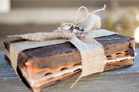 Wedding bands tied to an old Bible instead of a pillow.