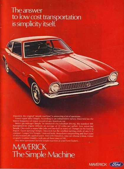 Ford's Maverick. Find parts for this classic beauty at http://restorationpartssource.com/store/