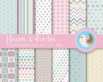 Pastel papel Digital Set - papel Digital de papel Digital rosa - corazones de papel Digital - lunares - Set de 12 papeles de Scrapbooking Digital