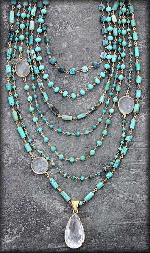 Safia Day 7 Strand Turquoise Necklace with Crystals YUM
